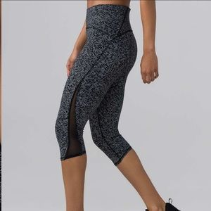 Lululemon Train Time Crop Leggings dots with mesh